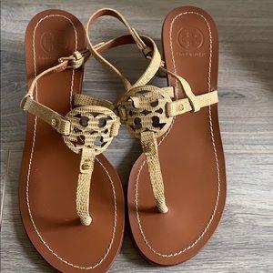Tory Burch snake skin Leather Thongs w/Heels